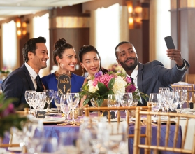 Group taking selfie during event at Mount Airy Casino Resort. Mount Pocono, Pennsylvania.